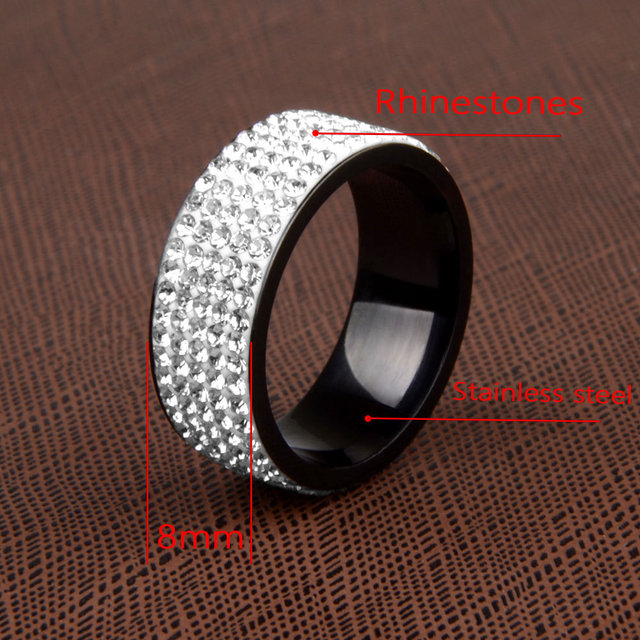 High Quality Punk Rock Stainless Steel Black Ring Men Blue Red Green Crystal Ring For Women Wedding Ring Jewelry 6 7 8 9 10 11 2