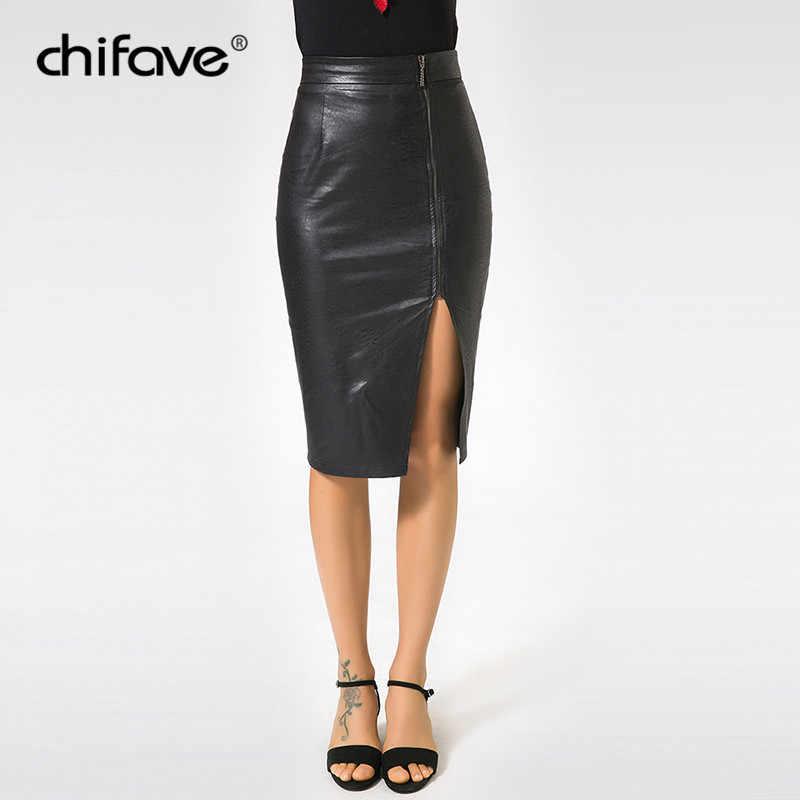 1a22ceb0df Casual Women Office Pencil Skirt High Waist PU Leather Skirt Black Sexy Side  Split Female Autumn