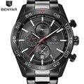Benyar relógios dos homens à prova d' água de luxo da marca completa de aço de quartzo analógico militar do exército sport watch relógio masculino relogio masculino