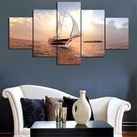 5 Pieces Framed Sailing Boat In The Sea Canvas Painting Wall Art Prints For Modern Home