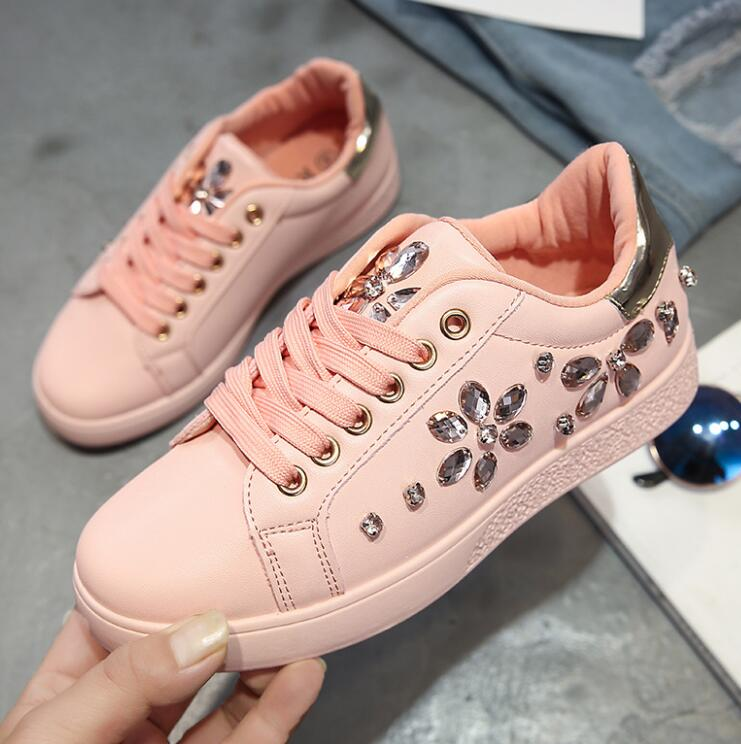Style Nouveau Printemps De blanc Chaussures Noir Strass Et Femmes rose Casual Sport À Saison Plat Simples Fond Mode Automne wtHOArHqI