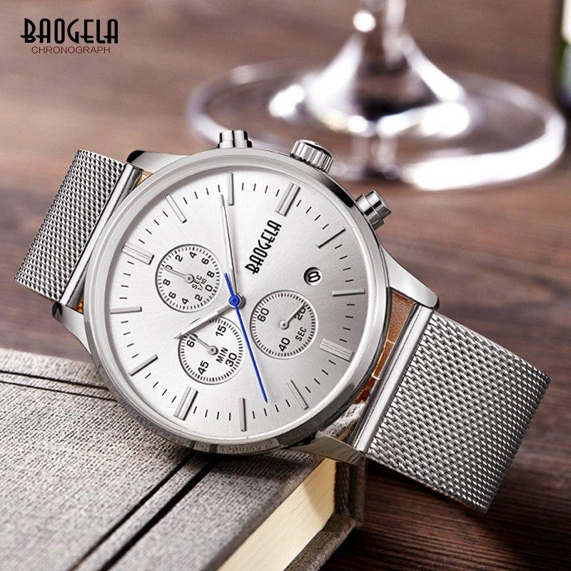 3f80e672b9e88 Baogela جديد أعلى الفاخرة ووتش الرجال العلامة التجارية الرجال الساعات شبكة  من الاستانلس استيل الفرقة الكوارتز ساعة اليد الأزياء عارضة الساعات