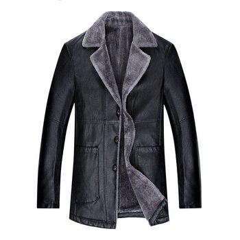 2018 Winter New Men's Leather Jacket Plus Velvet Thick Long Warm Fashion Casual Jacket Fur Coat Men Brand Clothing