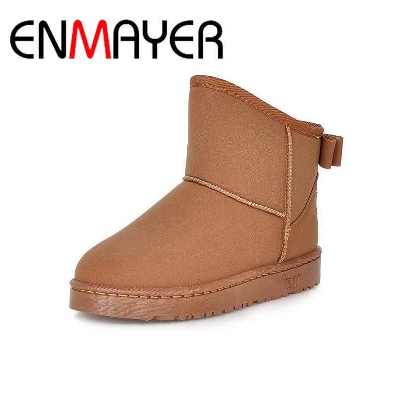 ENMAYER Big Size 39 High Quality Boots Fur Ankle  Round Toe Slip On Boots For Women 3 Colors  New Fashion Winter Snow Boots snow fur slip on fashion round toe winter boots women ankle flat shoes celebrity gray bow booties chinese female short new