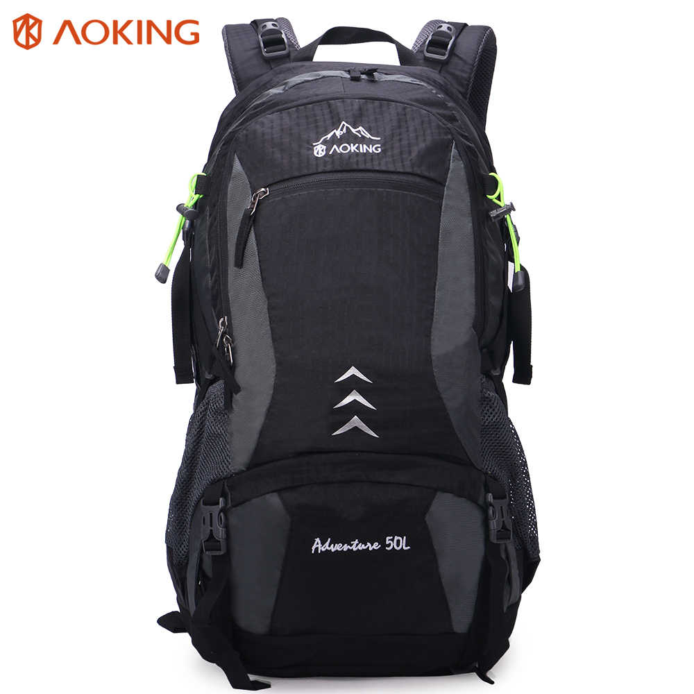 Aoking Large Trekking Backpack With Adjustable Buckle & Soft Air Pocket Safe Hiking Travel Bag With Reflective Strip(Rain Cover)