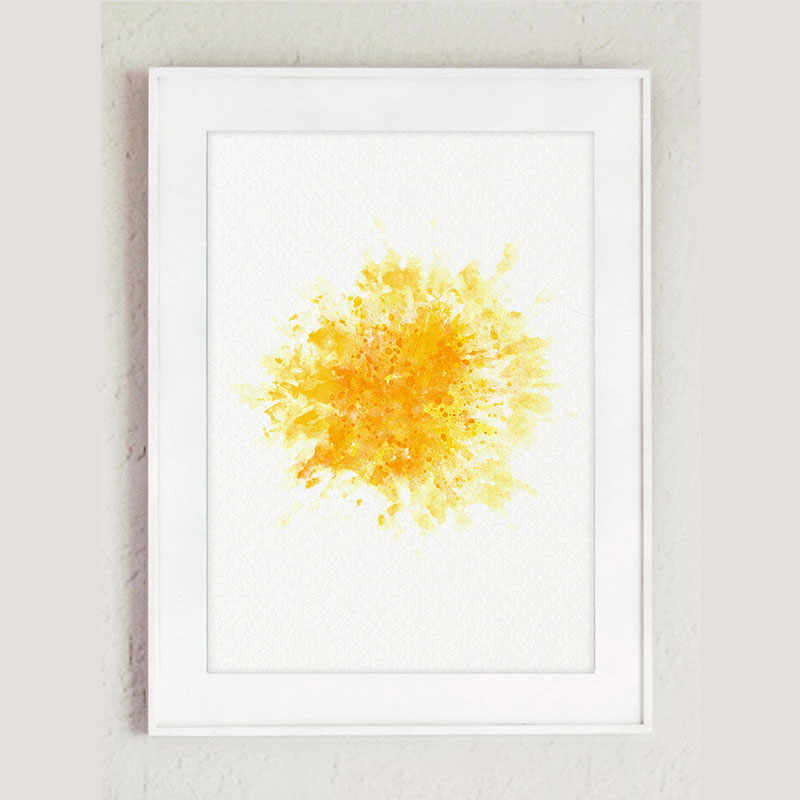 Moon And Sun Watercolor Painting, canvas print Living Room Decor ...
