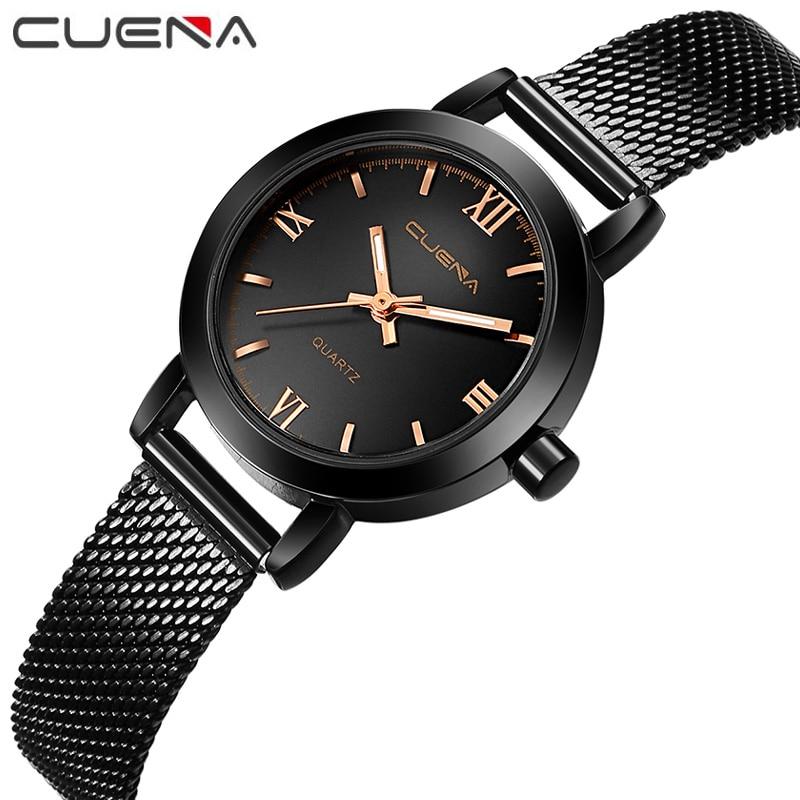 CUENA Luxury Women Waterproof Quartz Watches Fashion Casual Student Steel Dress Wristwatches Ladies Relojes Reloj 6624G 9 Color