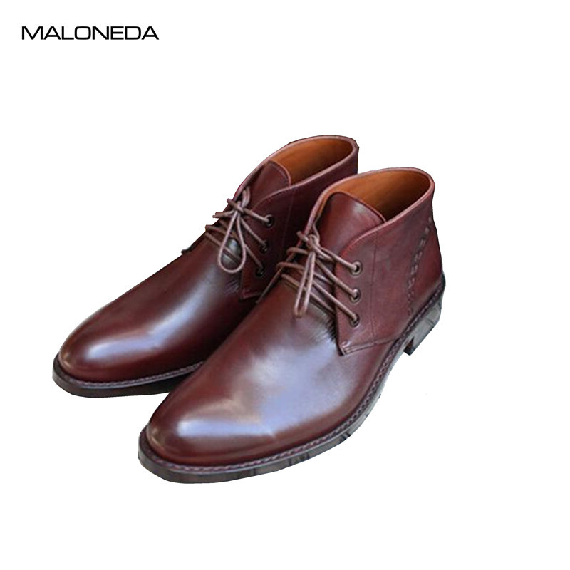 MALONED Custom Made Men Red Wine Color Leather Boots Handmade Goodyear 100% Genuine Leather Short Boots ensemble stars 2wink cospaly shoes anime boots custom made