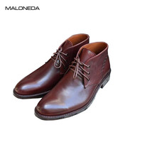 MALONEDA Custom Made Men Red Wine Color Leather Boots Handmade Goodyear 100% Genuine Leather Short Boots