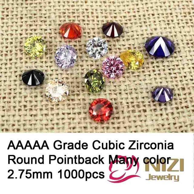 Aaaaa Grade brilhante cortes esferas de zircônia cúbica suprimentos para jóias 2.75 mm 1000 pcs rodada Pointback pedras decorações Nail Art
