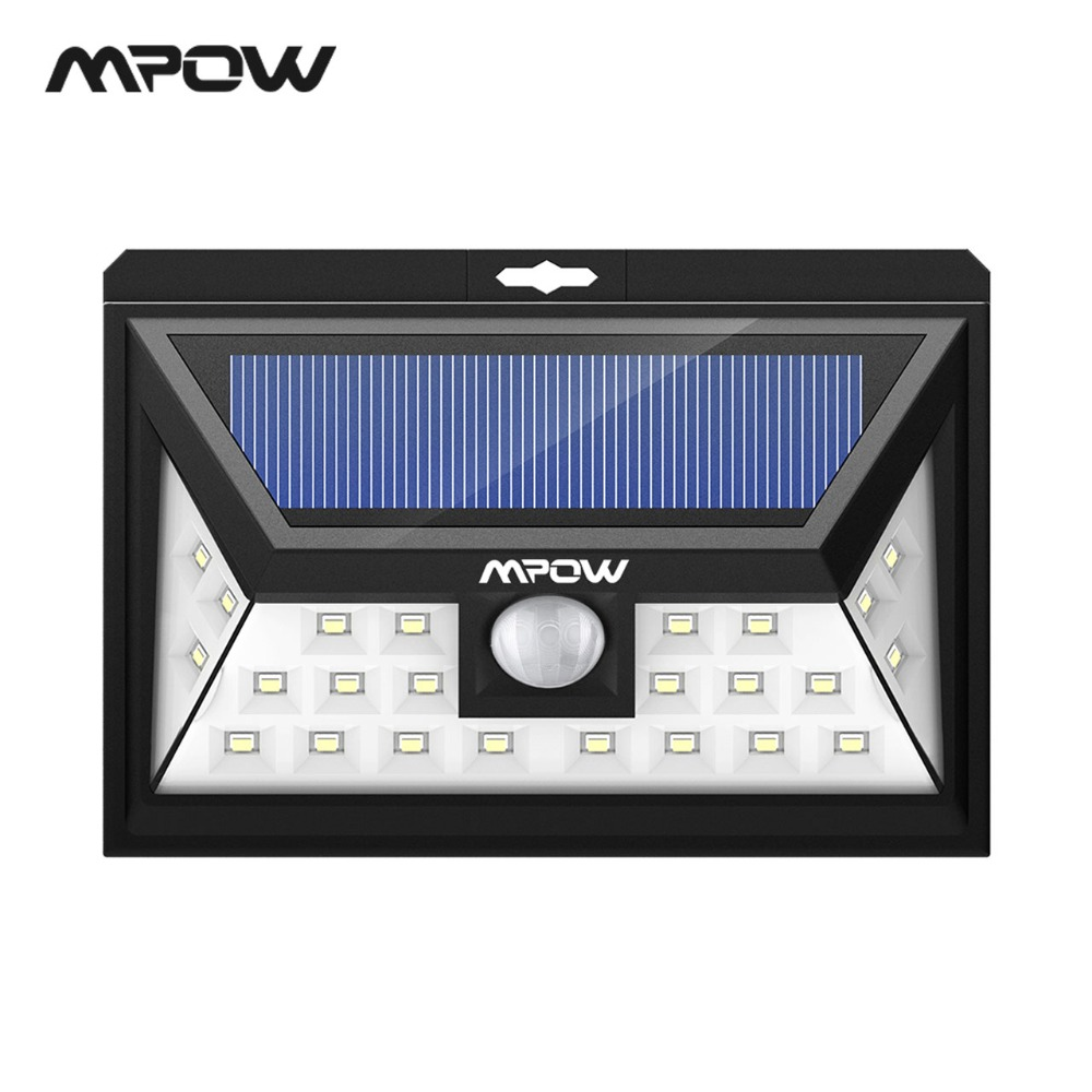 Mpow CD011 24 LED napelemes lámpa IP65 vízálló kültéri széles szög mozgásérzékelő lámpa 3 üzemmóddal a terasz kerti útjára
