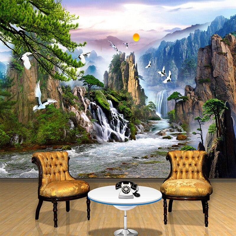 Custom Wall Mural Wallpaper Mountain Water Sunrise Waterfall Nature