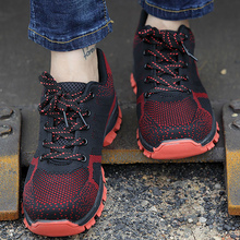 Work shoes for men Anti-smashing Size 5.5-14 Anti-piercing Mens Tennis shoes Safety Mesh Shallow Male Vulcanize shoes