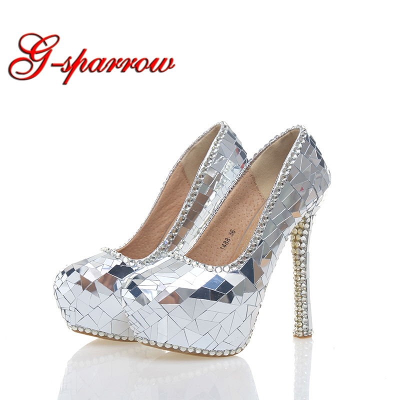 2018 Gorgeous Silver Crystal Bride Wedding Party High Heels Handmade Cinderella Prom Event Shoes Crystal Banquet Pumps Size 43 white pearl mother of the bride shoes with red bowtie wedding party prom high heels cinderella event shoes bridal pumps