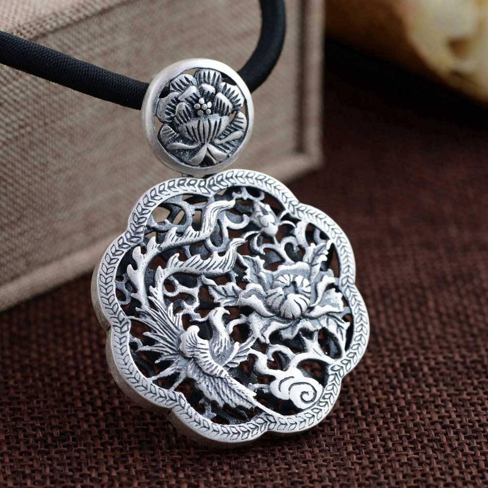 лучшая цена FNJ 925 Silver Flower Pendant Round Hollow Phoenix New Fashion Pure Original S990 Thai Silver Pendants Women for Jewelry Making