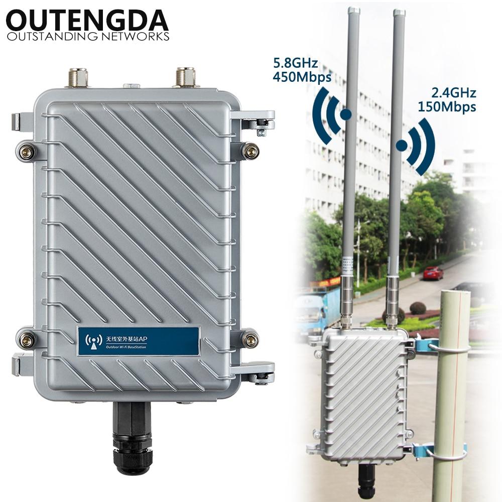 600Mbps de Banda Dupla 2.4G & 5.8G Outdoor CPE AP Router Amplificador de Sinal WiFi Hotspot Repetidor de Longo Alcance ponto de Acesso sem fio PoE