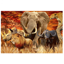5D Diy Diamond Painting Cross Stitch full Square Round Embroidery African grassland animals for room Decor H920