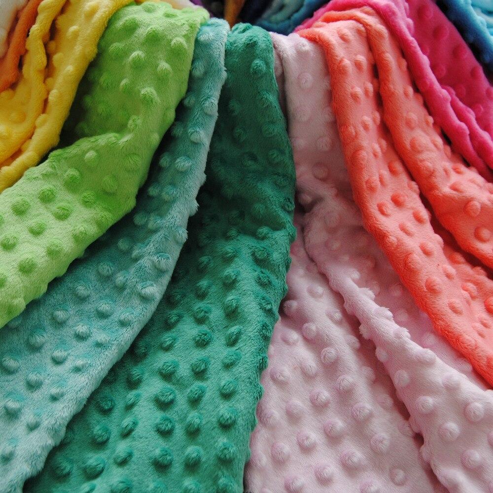 Ѕесплатная доставка супер мягкий минки Dot ткань 22 цветов в наличии продаются метра для одеяло пеленки младенца ребенка подушку   мода ткани