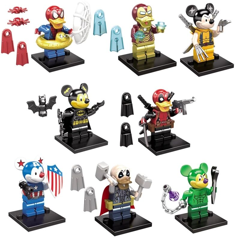 цены Super Heroes Deadpool Spider-Man Captain America Iron Man Thor Duck Bricks Set Model Building Blocks Children Gift Toys SY670