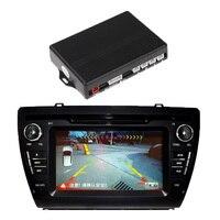 TOYL 12V 4 Parking Sensors Video Car Reverse Backup Radar System Kit Work With Car DVD