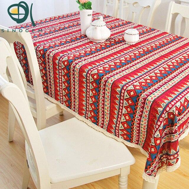 Sinogem New Oriental Element Ethnic Stripes Geometric Distribution Bohemia Red  Lace Tablecloth Tea Mantel Table Cloth