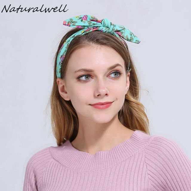 Naturalwell Women Cotton Top Knot Headband Teen Flower bandage Girls DIY  Yoga Headwrap bandanas Turban Hair accessories WH515 32708ba06ba