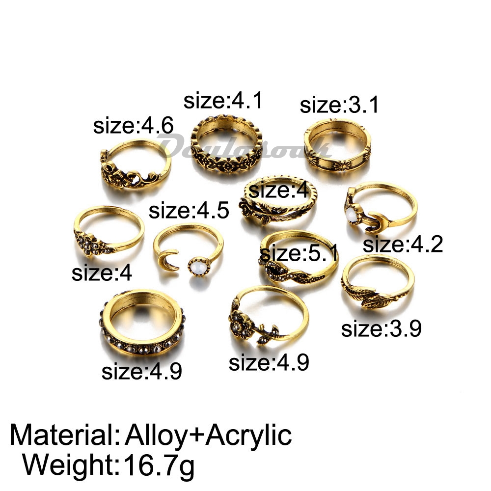 Antique Gold Silver Color Flower Midi Ring Sets for Women Boho Beach Vintage Turkish Punk Knuckle Rings 11pcs Set R006 in Rings from Jewelry Accessories