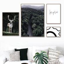 Forest Road Elk Abstract Quotes Wall Art Canvas Painting Nordic Posters And Prints Landscape Wall Pictures For Living Room Decor(China)