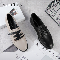 SOPHITINA New Flats Fashion Round Toe Black Gray Genuine Leather Shoes Woman Buckle High Quality Handmade Casual Flats SC73