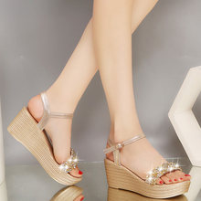 28765754a9 Women Sandals Fashion Bohemian Rhinestone Women Sandals for Lady Wedges  Shoes High Heel Summer Shoes Gold Silver Size 33-40