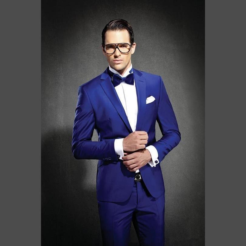 0d563436dc 2017 Nuevo azul Real Hechas Esmoquin Padrinos de Boda Del Novio Trajes Para  Hombres Slim Fit Traje Un Botones Novio Chaqueta Pantalones en Trajes de La  ropa ...