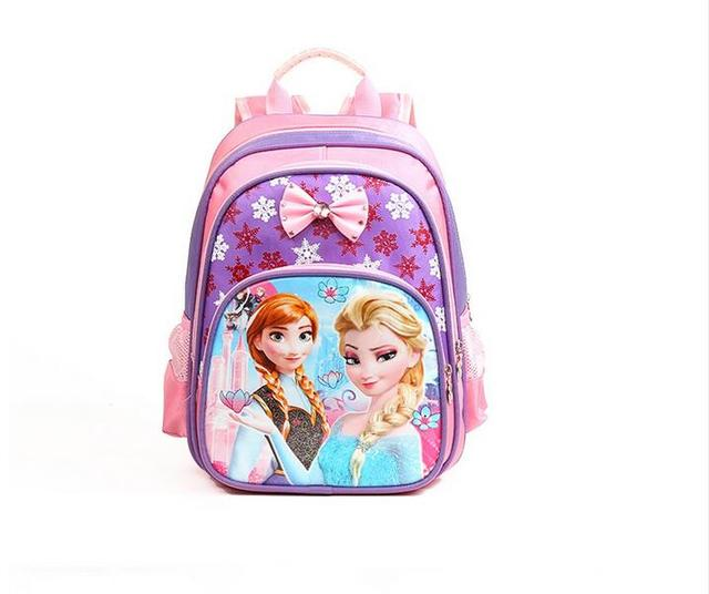 Princess Elsa Anna Waterproof Printing School Bags Violetta Backpack 33*32*18CM Orthopedic Schoolbag For Girls Mochila Escolar