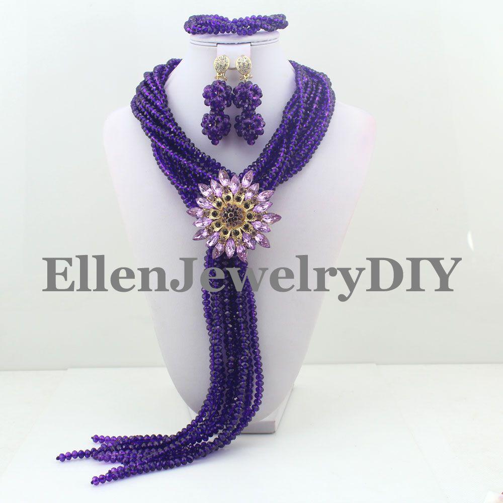 Perles de cristal de fête africaine perles africaines ensemble de bijoux violet pour femmes nigérian ensemble shopping gratuit W9062