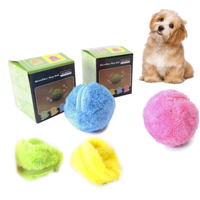 4 Color Set Electric Toy Ball Dog Cat Toy Automatic Pet Plush Ball Activation Automatic Ball Chew Plush Floor Clean Toys Pet 2