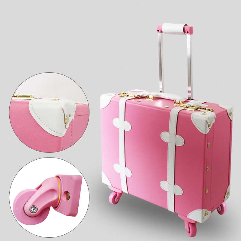 LeTrend 18 inch Multifunction Rolling Luggage PU Leather Suitcase Wheels Mini Cute Women Carry on Trolley