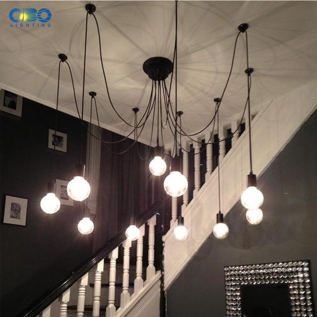 Vintage 8 spots plafond koord - excl. E27 lampen !!! 4