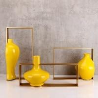 Современный новый китайский стиль гостиная творческий керамическая модель номер крыльцо декоративные горшок желтый керамическая ваза рем
