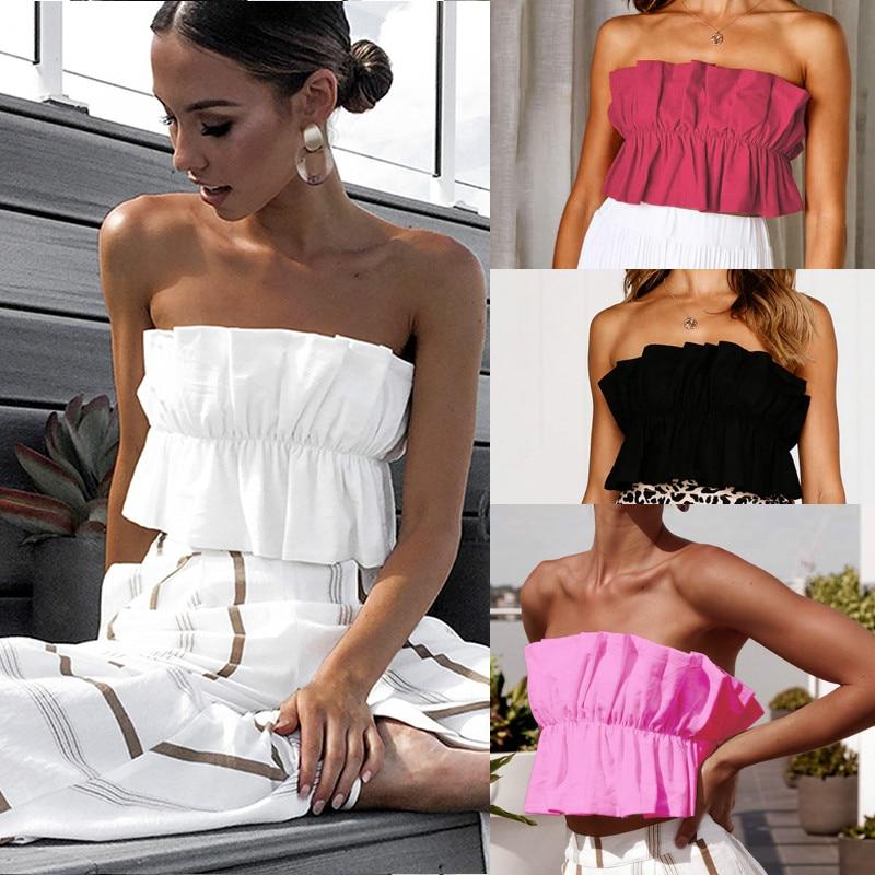 2019 Fashion Solid Color Ruffles Crop   Tops   Women Boho Cami Vest Strapless   Tank   Female   Tops   Summer White Black