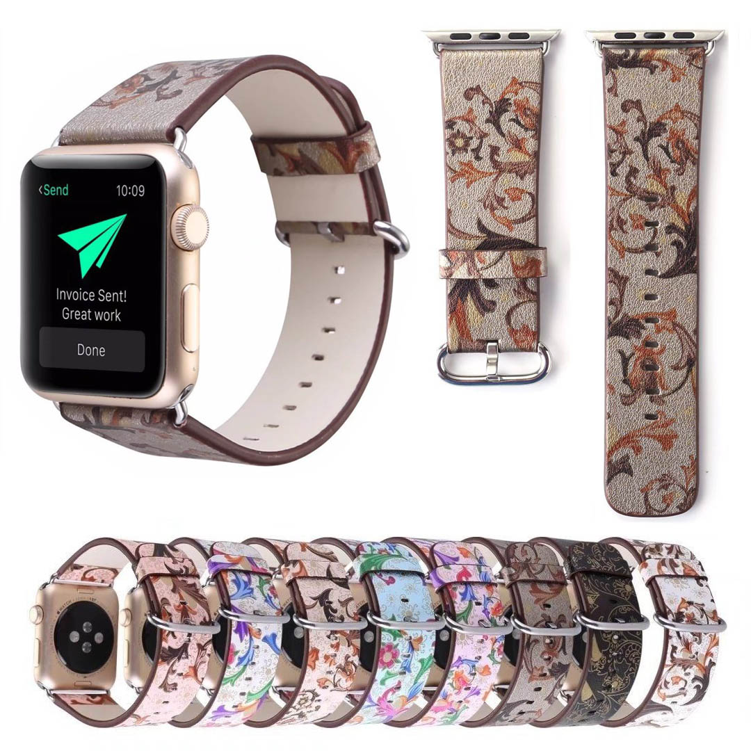 Women's Flower Strap for Apple Watch Series 5 4 3 2 1 Leather Band Vintage Watch Bracelet for iWatch 38/40mm 42/44mm Wristbands image