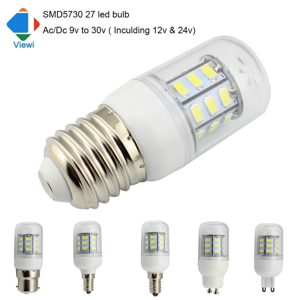 Viewi 10x ampoule led lamp Ac Dc 12 volt E27 E12 E14 G9 GU10 light bulb 12v 24v solar lamps lighting smd5730 epistar chip 27leds