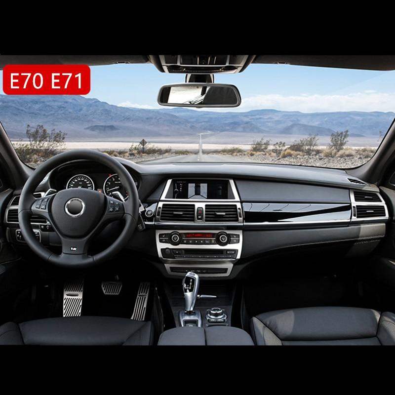 Car Stereo Speaker Frame Cover Trim For BMW X5 E70 X6 E71 Console Gear Shift Panel Air Outlet Frame Door Armrest Decor Strips