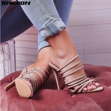 TINGHON Fashion Women PU Ankle Narrow Band Sandals Slippers Cut Out Gladiator Open Peep Toe Sandals High Heel Stiletto Pumps цена 2017