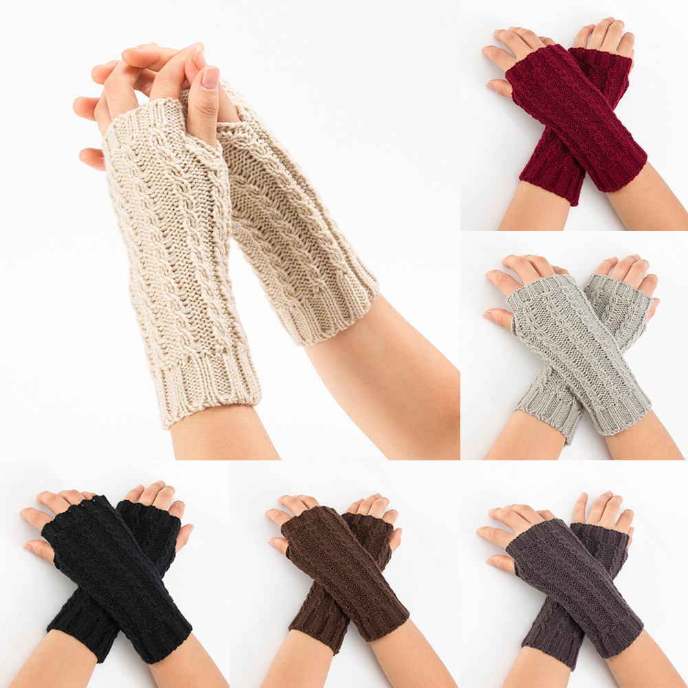 Women Winter Wrist Arm Keep Warmer Solid Knitted Short Fingerless Gloves Mitten Comfortable Gloves L50/1224