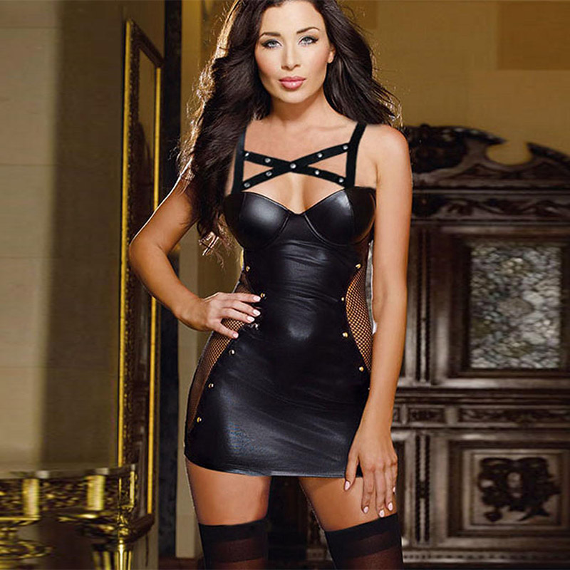 2017 Gothic Womens Fetish Short Mini Dress Bandage -7686