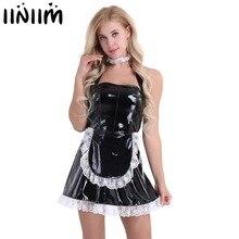 3 sztuk kobiet Wetlook Sexy kostiumy lakierki Maid Dress Cosplay kostiumy maidsert przebranie na halloween z fartuch Role Playing