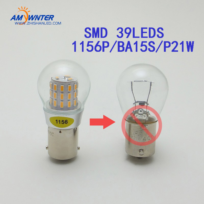 AMYWNTER P21 / 5W BAY15D Base 1156 led P21W Ba15s BAU15S PY21W lâmpadas led SMD 39LEDS Fonte de luz do carro Car Styling Bulb 4pcs