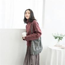 Retro Woolen Large bag portable woolen plaid single shoulder Sen department Art Woman Bag