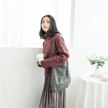 цена на Retro Woolen Large bag portable woolen plaid single shoulder bag Sen department Art Woman Bag