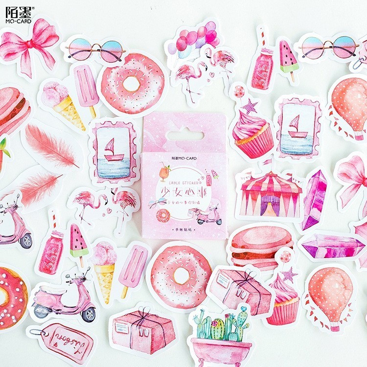 45PCS/box New Cute Girl's Mind Paper Lable Sealing Stickers Crafts Scrapbooking Decorative Lifelog DIY Stationery