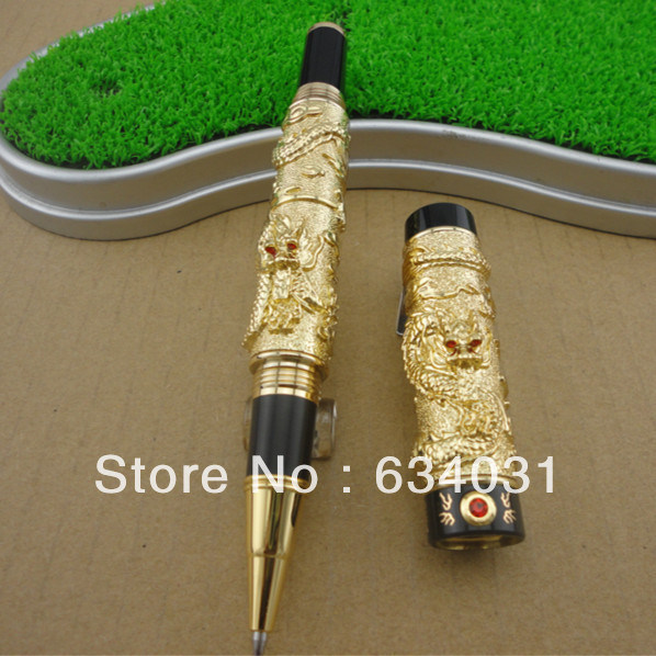 Jinhao Noble Golden Roller Ball Pen Dragon Carved Crystal Stationery School&Office Supplies Writing Pens jinhao1200 silver 18kgp dragon clip carved stationery school black ink refills 0 7mm nib office roller ball pen